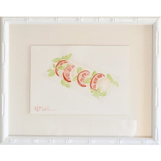 """Caprese Salad"" Contemporary Watercolor Painting by Katherine Stratton Miller, Framed For Sale"