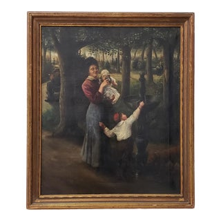 Late 19th Century Oil Painting of a Young Family in a Park For Sale