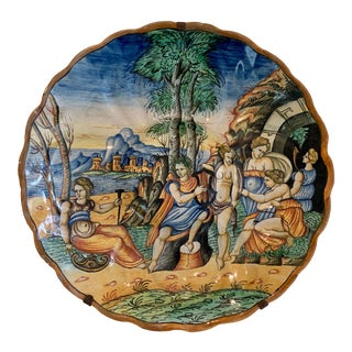 Majolica Italian Charger Decorated in Renaissance Style For Sale