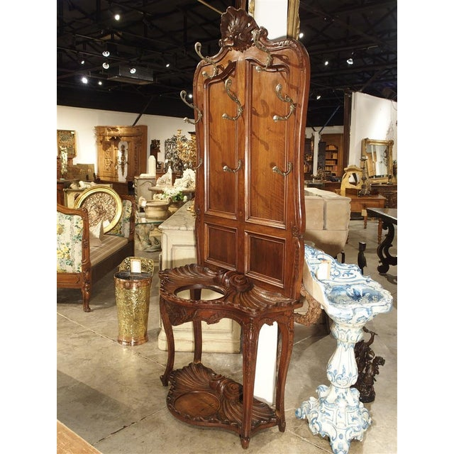 Antique French Walnut Wood Hall Rack and Umbrella Stand, Circa 1880 For Sale - Image 9 of 11