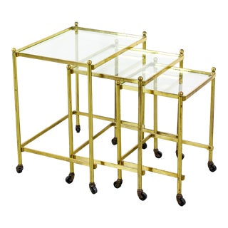 Vintage Mid Century Solid Brass Stacking Table - Set of 3 For Sale