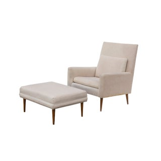 Paul McCobb Lounge Chair Model 302 and Ottoman by Directional For Sale
