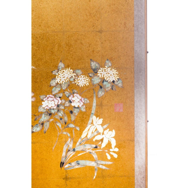 "Metal Lawrence & Scott Japanese Style ""Summer Garden"" Four-Panel Gold Foil Original Painting Hanging Screen For Sale - Image 7 of 9"
