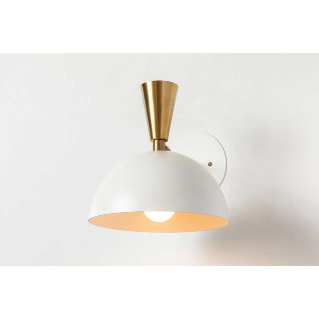 Metal 'Lola Ii' Sconces in White Metal and Brass - a Pair For Sale - Image 7 of 13