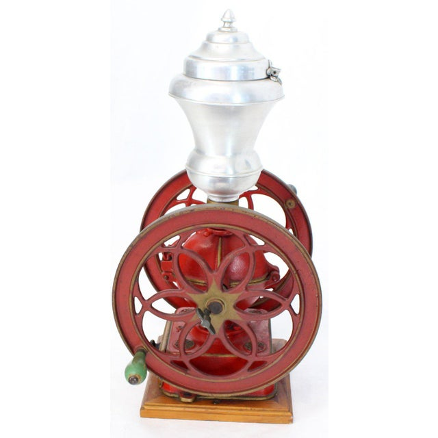 Large Antique Double Cast Iron Wheel Coffee Grinder Fire Red Very Clean For Sale - Image 12 of 12