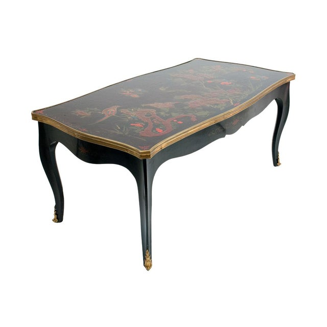 French Louis XV Style Black Japanned Coffee Table by Maison Jansen C. 1940's For Sale - Image 3 of 3