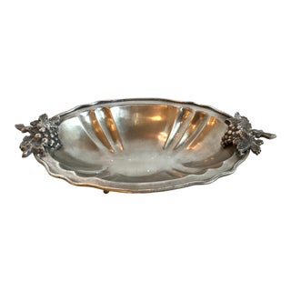 Mid Century Vintage Silver Serving Dish With Grape Motif For Sale