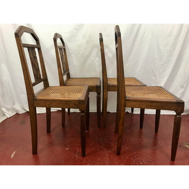 1930s French Oak and Cane Art Deco Dining Chairs For Sale - Image 5 of 9