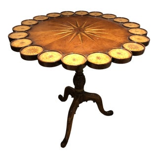 Contemporary Round Mahogany Side Table With Inlay and Leather
