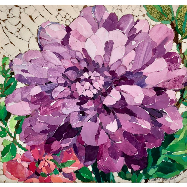 This is a purple peony collage on a wood board. It's made with hand-painted papers done in acrylic paint which are then...