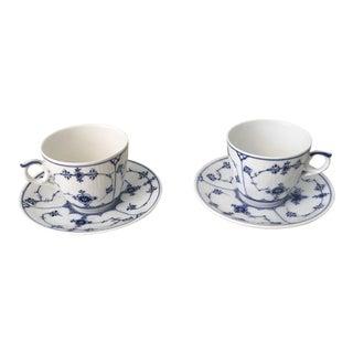 Royal Copenhagen Tea Cups and Saucers - a Parir For Sale