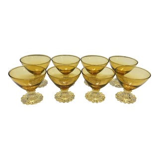 Early 20th Century Vintage Amber Martini Glasses/Parfait Cups - Set of 8 For Sale