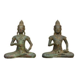 Antique Verdigris Medicinal Buddhas - a Pair For Sale