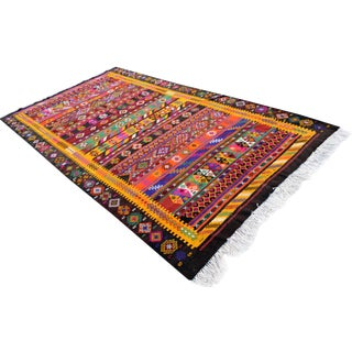 Masterpiece Colorful Braided Kilim Rug Hand-Woven Turkish Jajim - 6′1″ X 10′10″ For Sale
