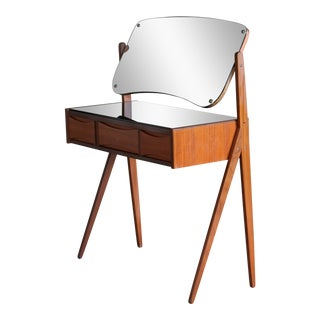 Arne Vodder Danish Midcentury Teak Vanity or Dressing Table With Mirror, 1960s For Sale