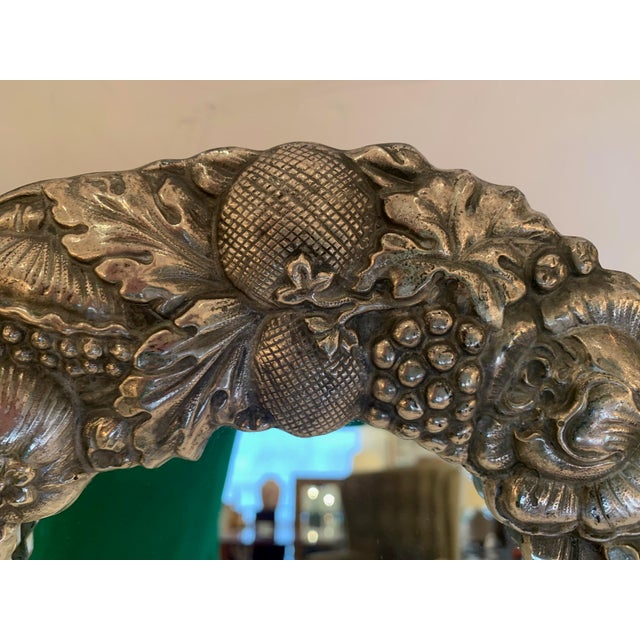 Traditional Silver Plated Repousee Oval Tabletop Mirror For Sale - Image 3 of 11