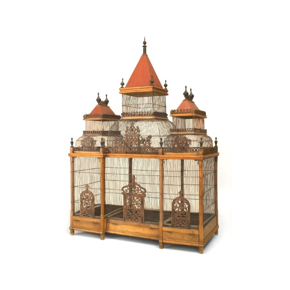 French (19/20th Cent) walnut large birdcage with 3 red dome tops having ebonized finials and trimmed with filigree tracery...