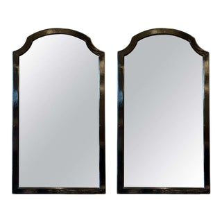 Pair of Ebonized Mid-Century Modern Wall or Console Mirrors For Sale