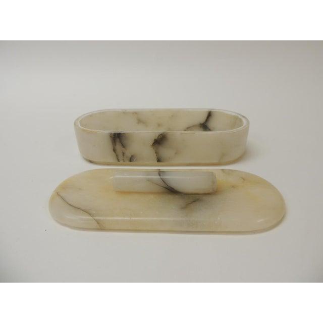0ee6f1f7032 Art Deco Vintage Vanity Handcrafted Alabaster Art Deco Oval Box For Sale -  Image 3 of