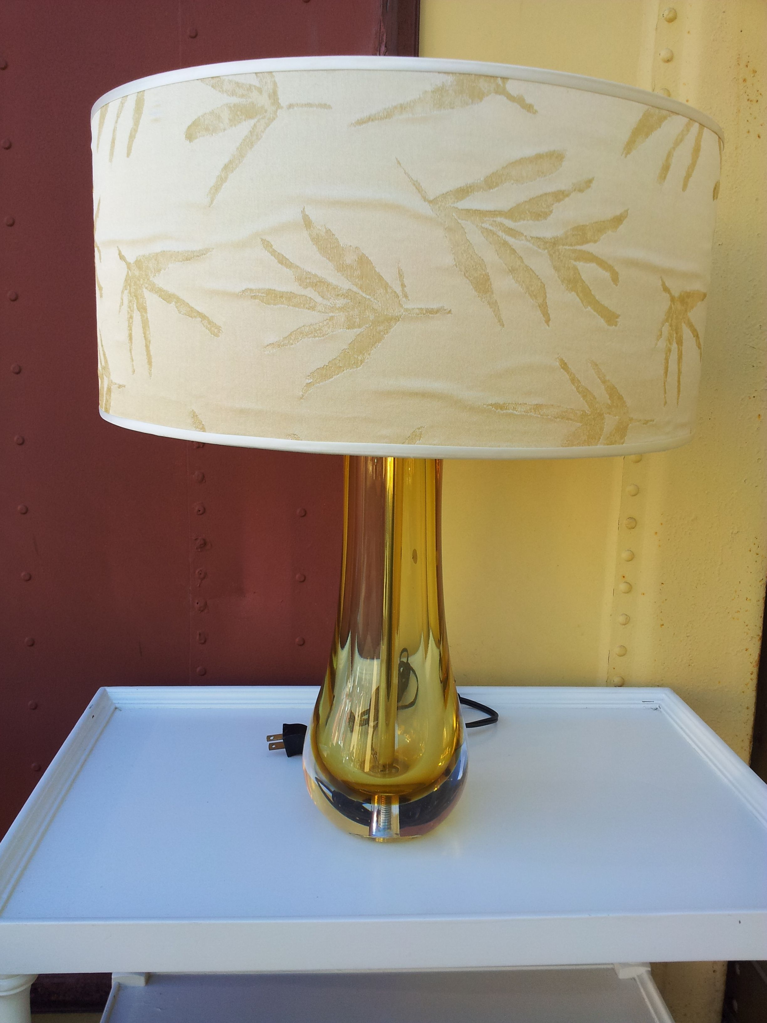 Vintage Solid Amber Glass Table Lamp With Shade Chairish
