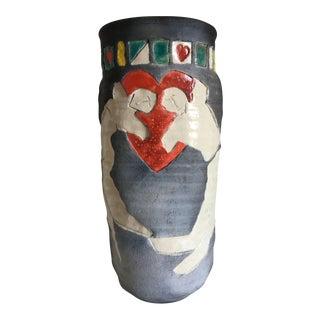 Moving Sale - 1980's Raku Stoneware Vase by Ruth Richards