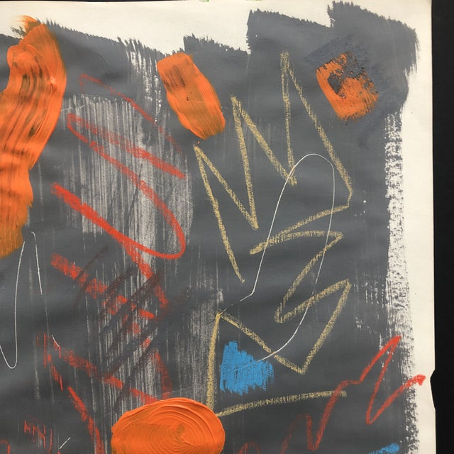 Abstract Abstract Painting With Pastel 1990s For Sale - Image 3 of 11