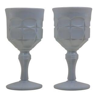 Vintage Milk Glass Goblets - A Pair For Sale
