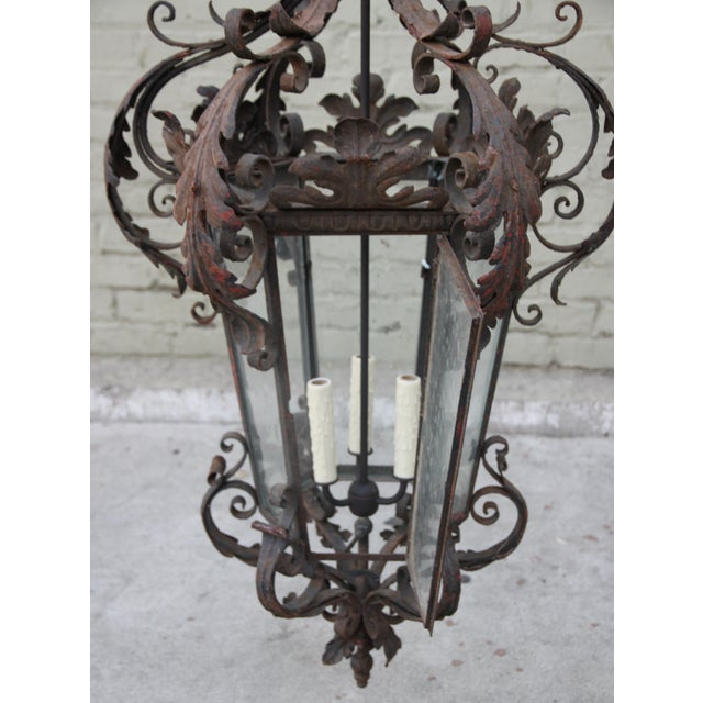 Spanish Wrought Iron Lantern For Sale - Image 4 of 5