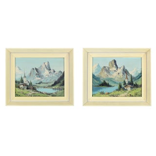 1970s Cottage Swiss Alpine Mountain Scape Oil Paintings - a Pair For Sale