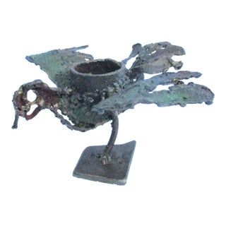Art Brut Welded Steel and Iron Flying Bird Candle Holder For Sale