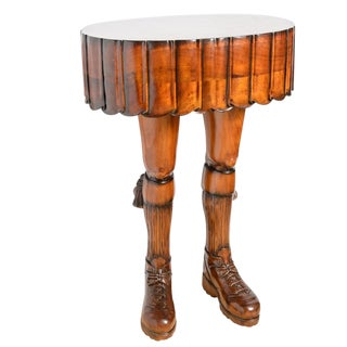Fabulous & Sculptural Scotsman's Kilt & Leg Table For Sale