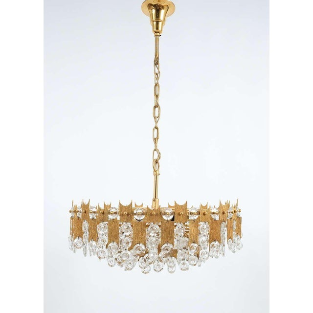 """Gold Delicate 20"""" Palwa Glass and Brass Chandelier, Lamp 1960 For Sale - Image 8 of 8"""