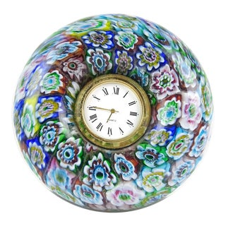 Murano Blue Pink White Millefiori Mosaic Flowers Italian Art Glass Boho Chic Vanity Desk Clock For Sale