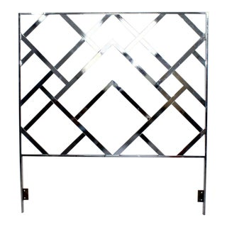 Mid Century Modern Milo Baughman Chrome Queen Size Bed Frame Headboard 1970s For Sale