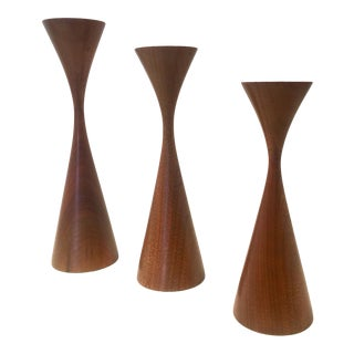 Vintage Danish Modern Inspired Turned Walnut Rude Osolnik Candlesticks - Set of 3 For Sale
