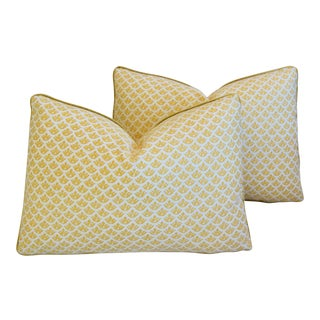 "Italian Mariano Fortuny Canestrelli Feather/Down Pillows 22"" X 16"" - Pair For Sale"