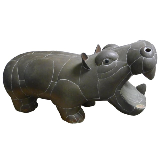 Brass 1970s Sergio Bustamante Patchwork Metal Hippo For Sale - Image 7 of 7