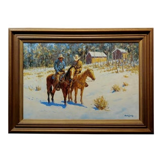 "Martin Weekly ""Cowboys on Horse"" Oil Painting For Sale"