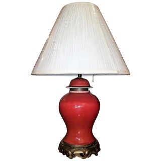 Large American Dedham Pottery Oxblood and Gilt Bronze Table Lamp For Sale