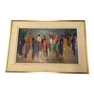 Mid-Century Figural Oil on Board Painting by Alice Valenstein For Sale