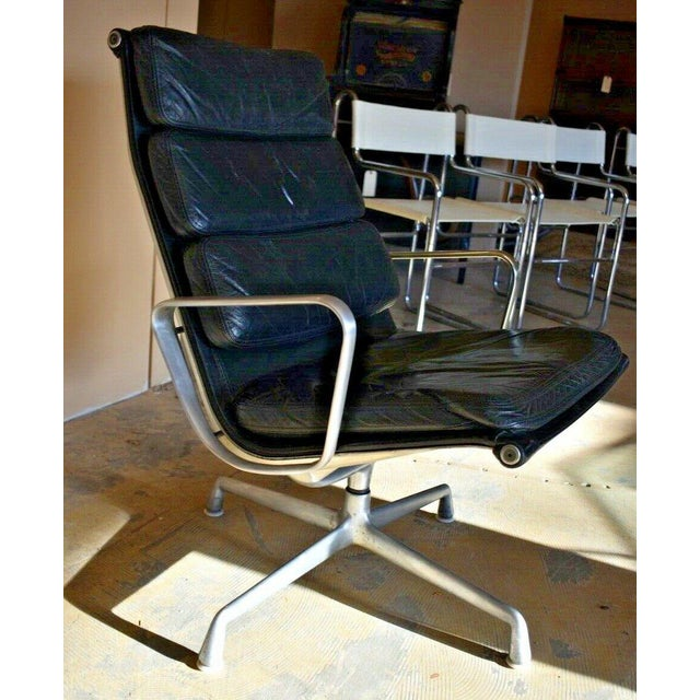 Mid-Century Modern Mid Century Eames Herman Miller Lounge Chairs Black Leather- A Pair For Sale - Image 3 of 13