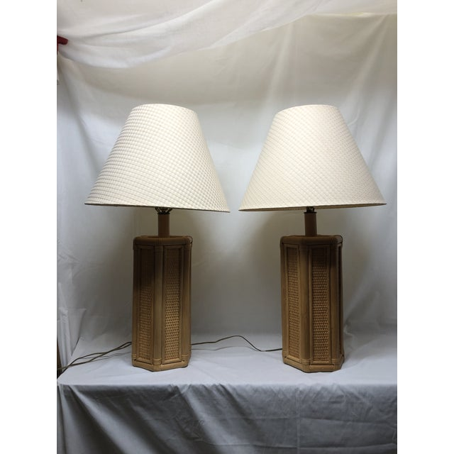 Boho Chic 1960s Vintage Coastal Style Rattan & Wicker Lamps- Set of 2 For Sale - Image 3 of 10