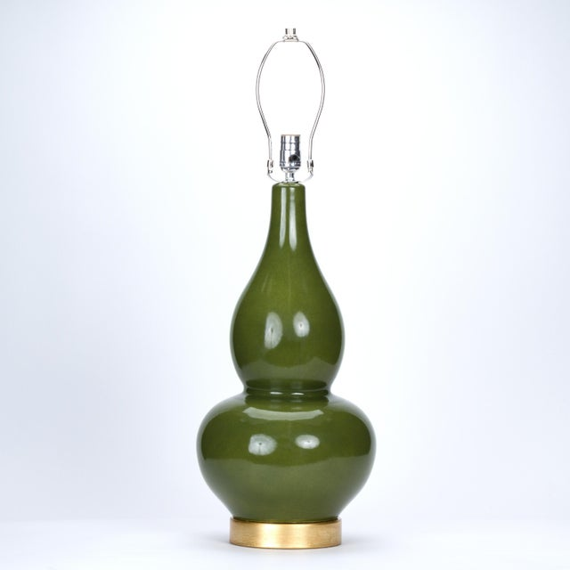 Transitional Casa Cosima Double Gourd Table Lamp, Olive Craquelure/Blue Stream Shade, a Pair For Sale - Image 3 of 7