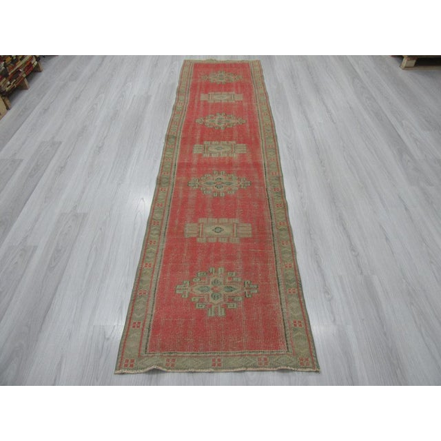 Vintage runner rug from Oushak region of Turkey. Approximately 50-60 years old. In good condition