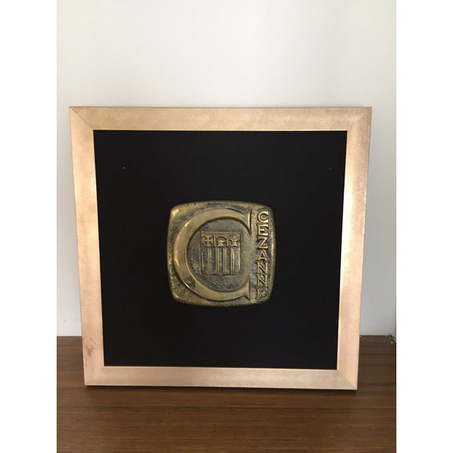 Mid-Century Vintage Cezanne Bronze Plaque with handpainted frame Mounted on black linen and beautifully framed in gold,...