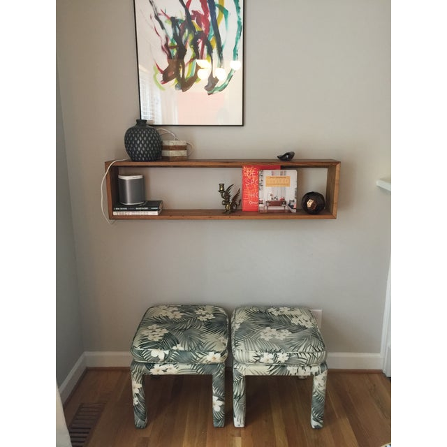 Parsons Stools With Palm Leaf Fabric - A Pair For Sale - Image 11 of 11