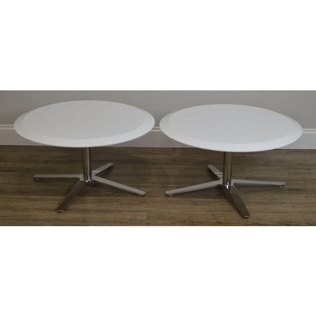 High Quality Heavy Chromed Steel Base Pair of Low Side or Coffee Tables with Round White Laminate Tops Store Item#: 22608