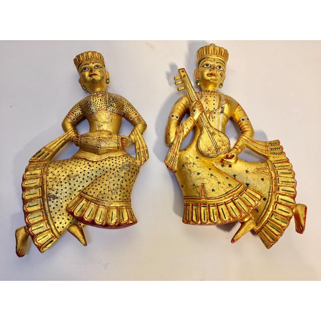Vintage Indian Carved Wood Rajasthani Female Musicians Sculptures - a Pair For Sale - Image 12 of 12