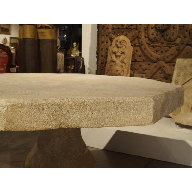 Carved Octogonal Limestone Table from Provence France For Sale - Image 4 of 9