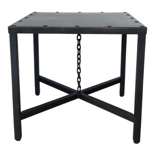 Restoration Hardware Sq. Metal Side Table For Sale